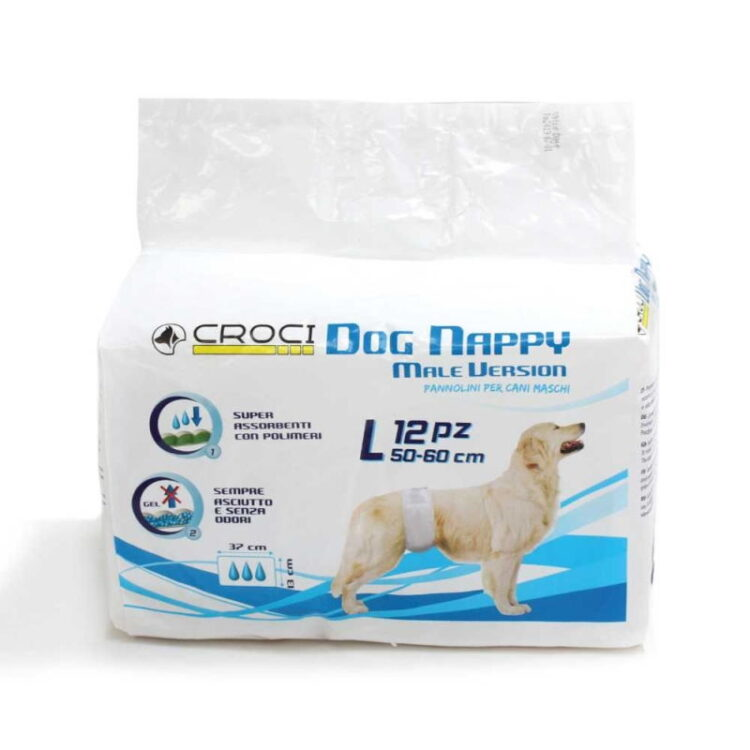 DOG NAPPY MALE WRAP LG PCS.12 (50-60CM)