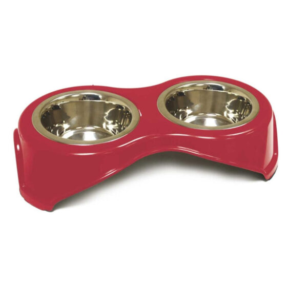 DOUBLE STEEL BOWL RED 2x400ml/14cm