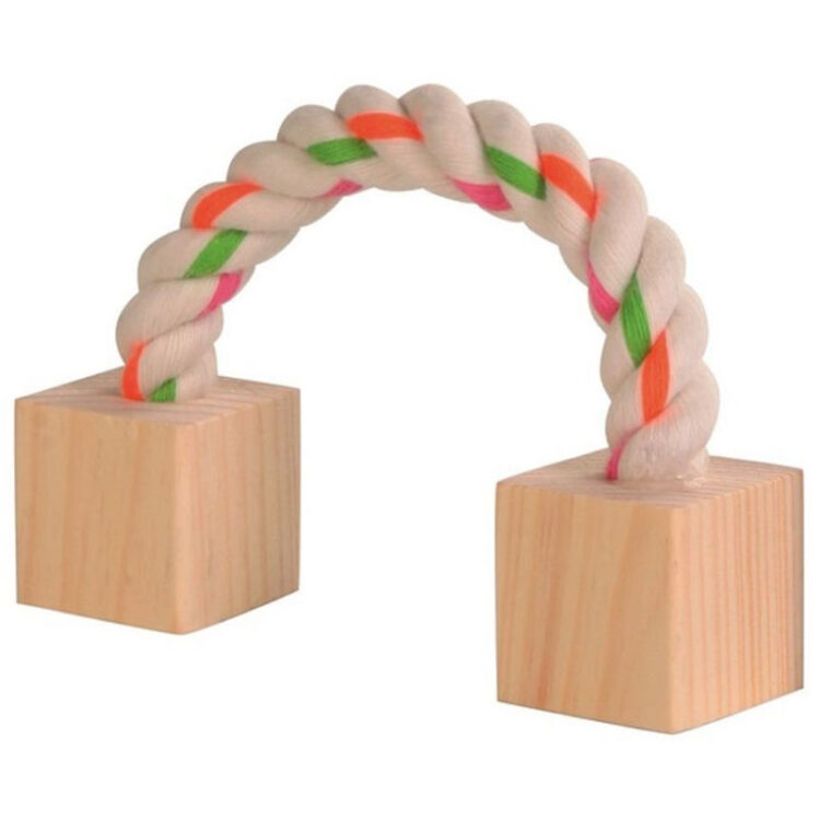 WOOD NIBBLER WITH ROPE 3X3X20 cm