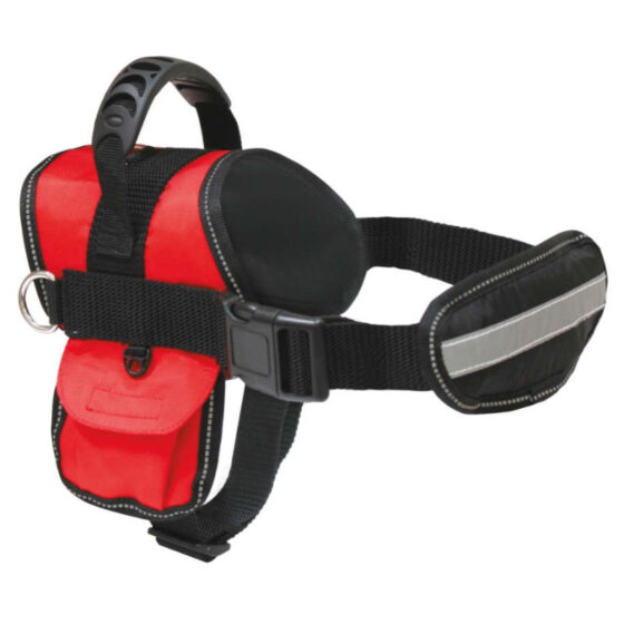 HARNESS HIKING SWAT 41-52cm RED W/LEASH
