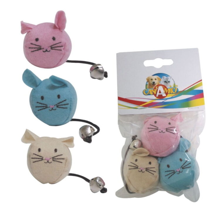 CAT TOY PUFFY THE MOUSE 3 PCS