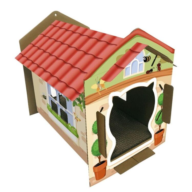 CART. CAT HOUSE VILLA COLOR 42x35x50cm